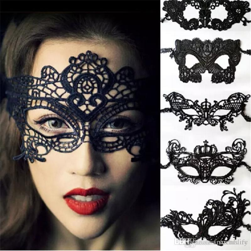 Halloween Sexy Masquerade Masks Black/White Lace Masks Venetian Half Face Mask for Christmas Cosplay Party Night Club/Ball Eye Masks 5 16 Re