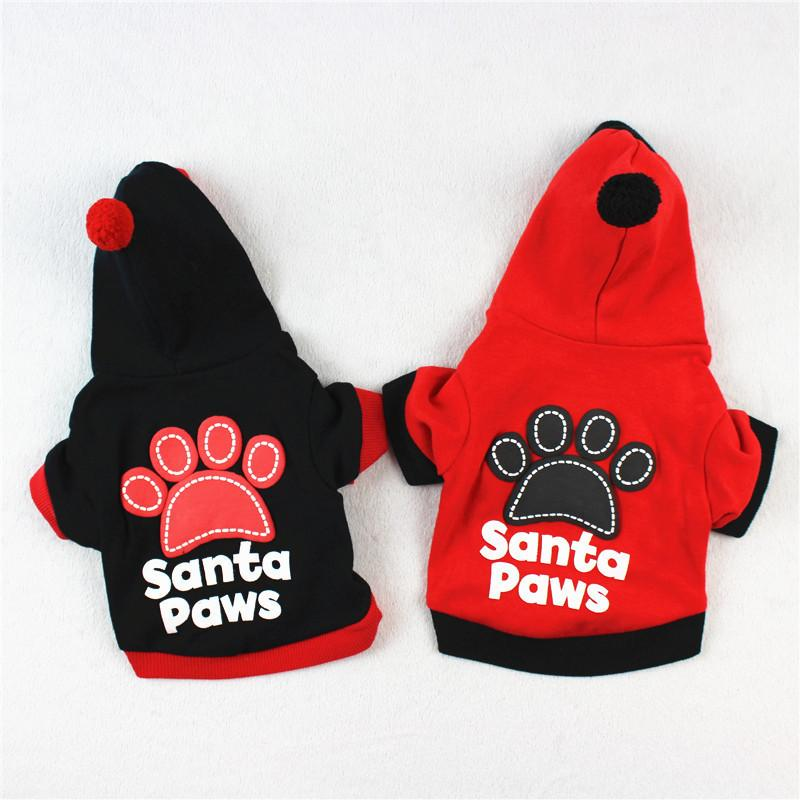 Santa Paws Pet Dog Clothes Winter Warm Cotton Costume Puppy Coat Outfit Cute Clothes For Small Dogs Pets Clothing Hoodie 7