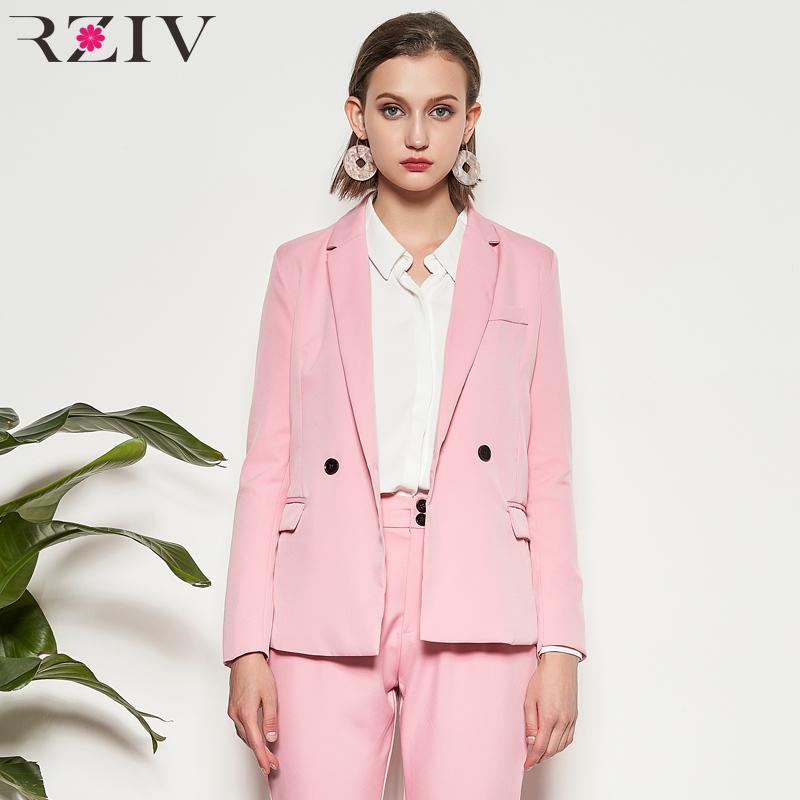 Compre RZIV 2018 Primavera Mujer Blazers Y Chaquetas Traje Casual Color  Sólido Traje De Caramelo Para Mujer Blazers Y Chaqueta De Manga Larga  Feminino ... 40fb5a0101f1