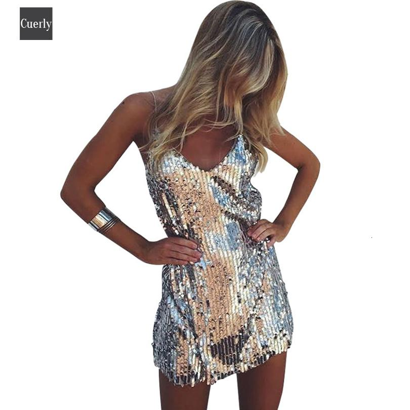 Deep Dress V Neck Silver Backless Sexy Short Mini Dress Women Christmas Party Spaghetti Strap Club Strap Dresses Designer Clothes