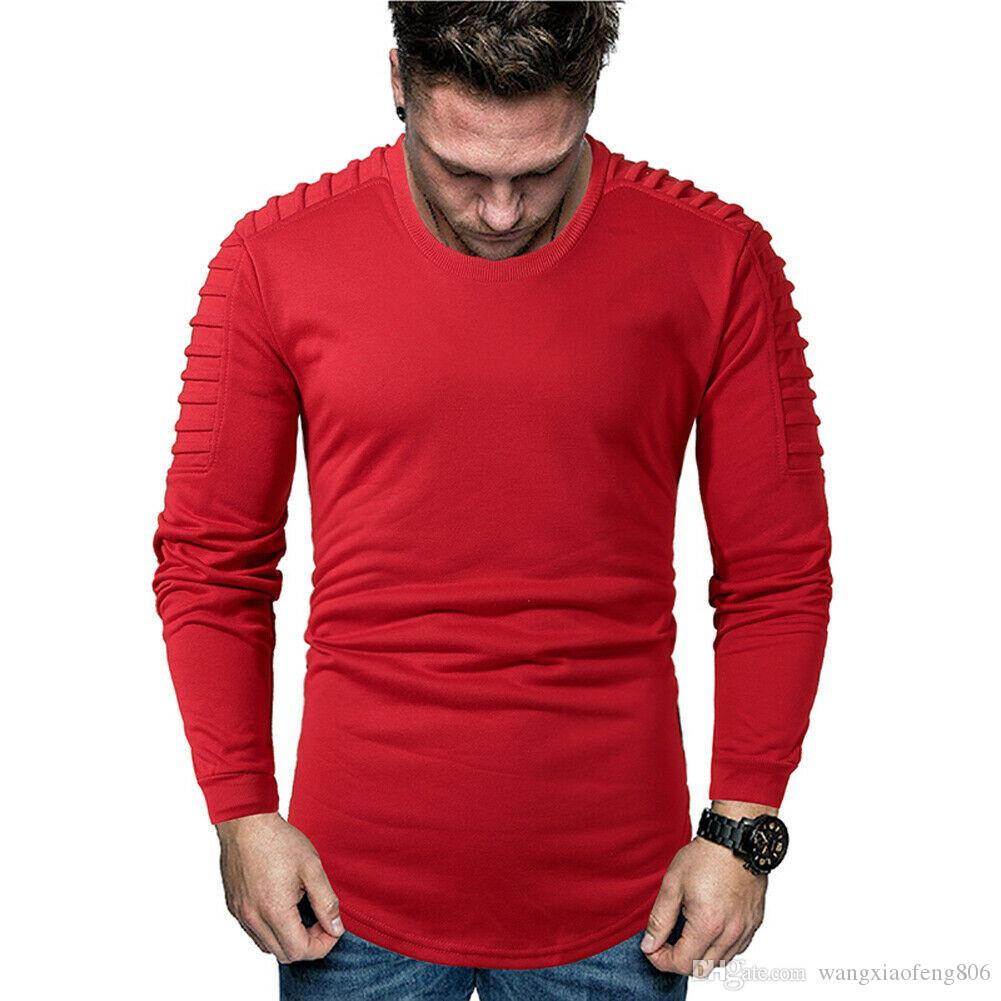 HOT Hommes T-Shirt Solid Slim Fit doux respirant Hauts Casual Vêtements automne manches longues Pull Muscle mince Gym T T-shirt