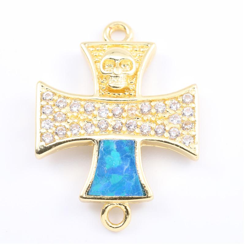 Singreal Opal Micro Pave setting Cross Charms Bracelet necklace Choker Pendant connectors for women DIY Jewelry making acces