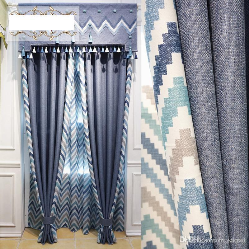 Rice grain double-sided stitching printing curtains Living room bedroom  blackout curtain fabrics New goods