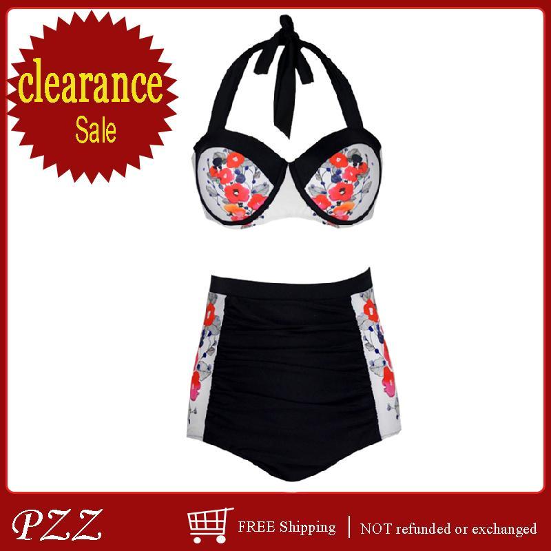 0ba1aa03447 Compre Vintage Mujer Traje De Baño De Cintura Alta Estampado Floral ...