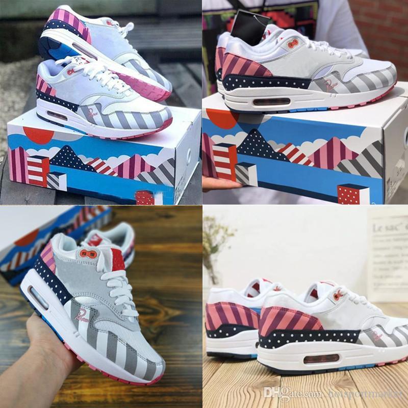 Parra x Nike Air Max 1 Parra Avec la boîte 2018 Chaussures Piet Parra x 1 Blanc Multi Rainbow Designer Femmes Hommes Chaussures de course Marque