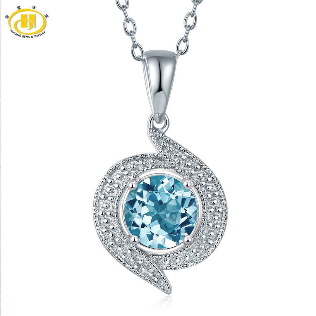 Hutang Real Blue Topaz Stud Pendant Necklace Solid 925 Sterling Silver Gemstone Fine Jewelry Women's Accessories 2017 New Design