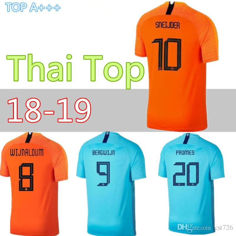 2018 19 Camiseta De Fútbol De Los Países Bajos Casa Naranja 18 19 Equipo  Nacional De Holanda JERSEY Memphis SNEIJDER V.Persie Fútbol Holandés S Por  Cst726 222d3ee911a27