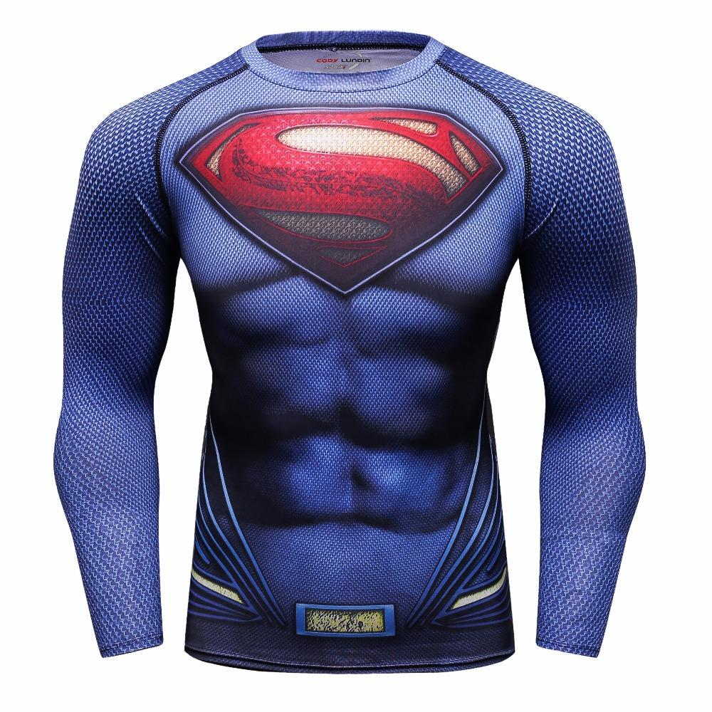 Men's Compression T-shirt Long Sleeve Double Sided Prints Rashguard Fitness Base Layer Weight Lifting Wear Tops & Tees