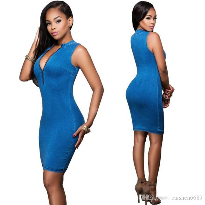 Nova moda vestido de cowboy mulheres clothing casual slim dress 2019 primavera zíper sem mangas sexy blue denim dress venda quente