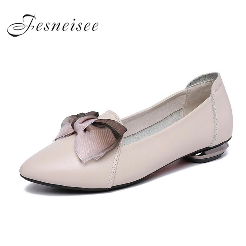 ced1f5955 2019 New Spring Flats Woman Bow Tie Pointed Toe Shallow Women Shoes ...