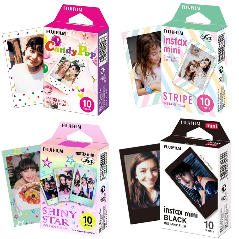 Instax Mini Film Mini 9 Photo Paper 10/20/30 Sheets Black Candy Pop Shiny Star Sripe For Instant 7s 8 70 90 Camera