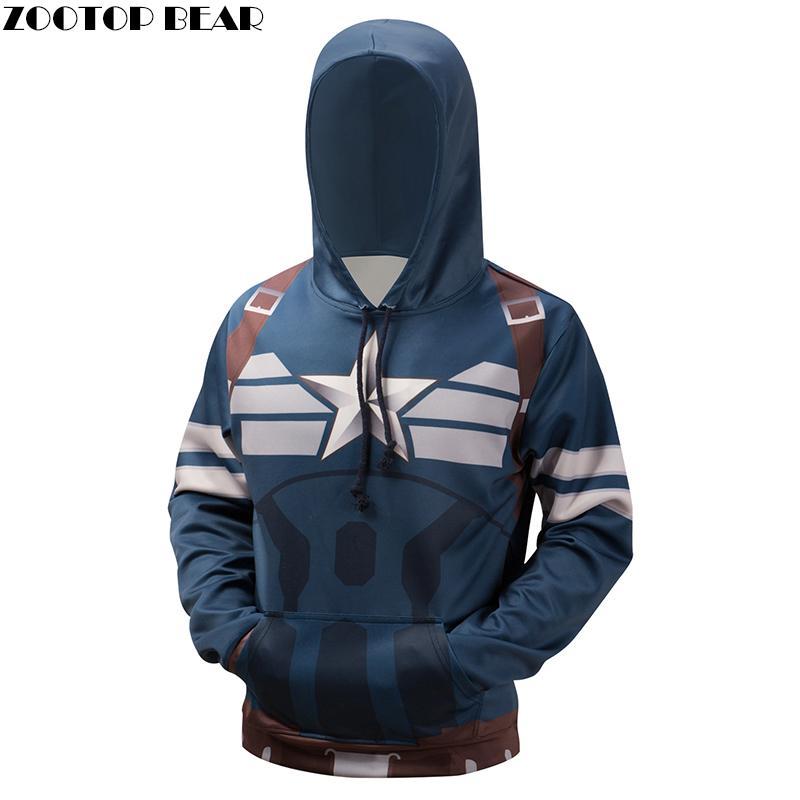 4179aadbee789 2019 Captain American Hoodies Sweatshirt 3D Superhero Hooded Pullover  Novelty Streetwear Plus 6XL Hoodies Brand Qulaity Hoodie From New66, $29.13  | DHgate.