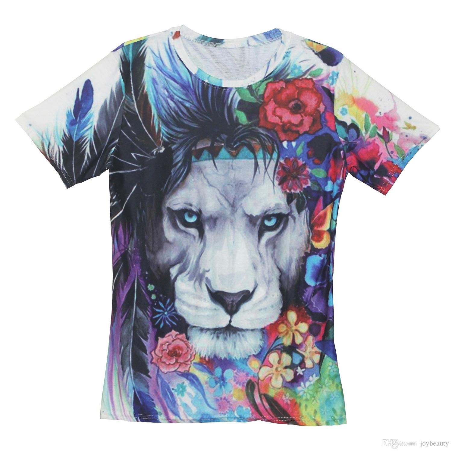 88d9a1627bff Men T Shirt Lion Feather Flower 3D Full Print Man Casual Tops Unisex Short  Sleeves Digital Graphic Tee Shirt Tees T Shirts Blouse RLT 2402 Customised T  ...