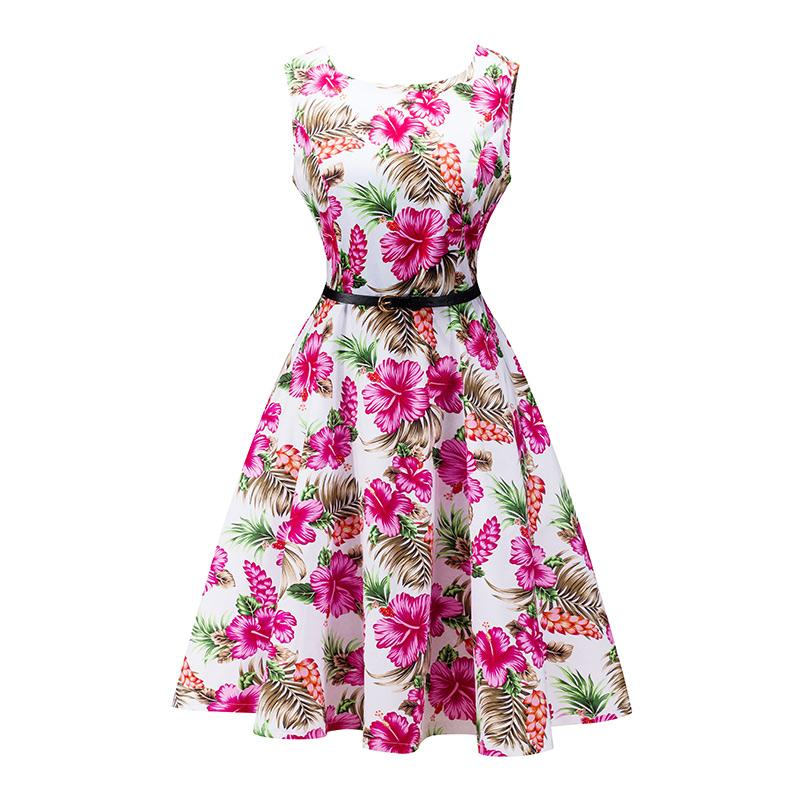 ca5f1ad885058 Summer Dress Women Retro Cotton Floral Print 50s 60s Vintage Dress With  Belt Sleeveless Elegant Party Dresses Sundress