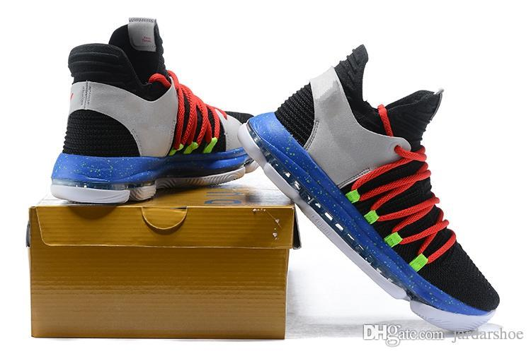 New Brandsports Shoes Kevin Durant 10 Black Red Cool Grey Blue KD 10 ... 8a8349c7a