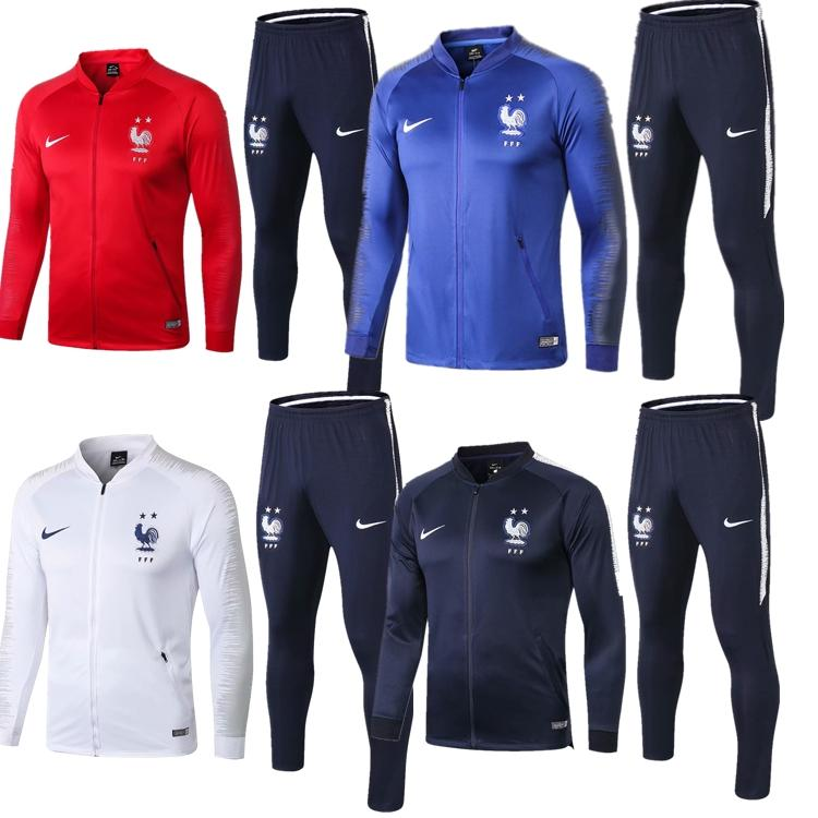 8212d3515c2 Aaa+ Quality New 2 Stars French Jacket Pogba Griezmann Soccer Jersey 2018 World  Cup Training Sportswear Suit Kante Mbappe Football Tracksuit
