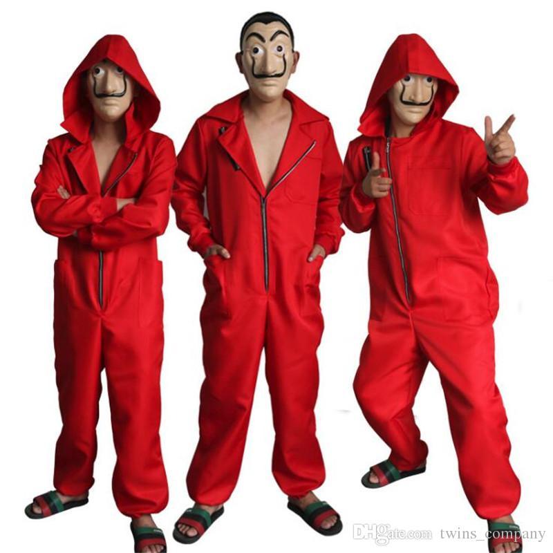 casa de papel costume  La Casa De Papel Salvador Dali Red Costume Jumpsuits Cosplay Dali ...