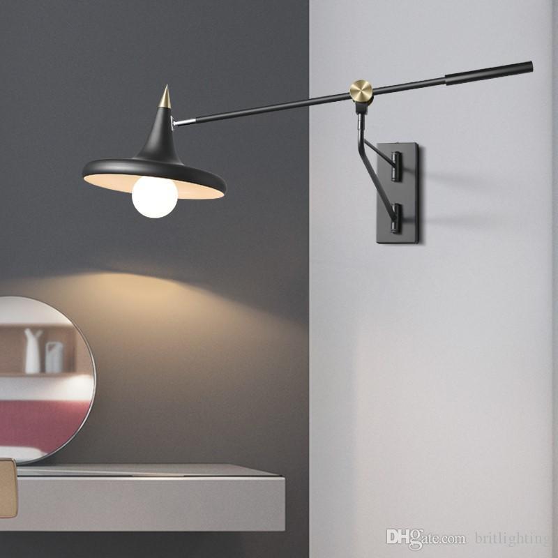 Lamps & Shades Nordic Industrial Wall Lamp Modern Restaurant Telescopic Rocker Wall Lights Creative Living Room Bedroom Light Study Wall Lamps