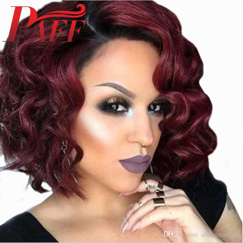 PAFF Ombre Red 1b99j Short Wave Bob Hair Wig Lace Front Human Hair Wig Pre Plucked Remy Brazilian Side Part Hair