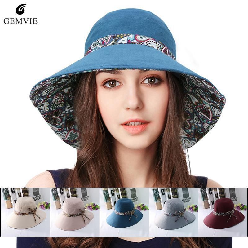 Trendy Wide Brim Bucket Hat para mujer Verano Sunhat Vintage Print doble cara Fisherman Hat Playa plegable