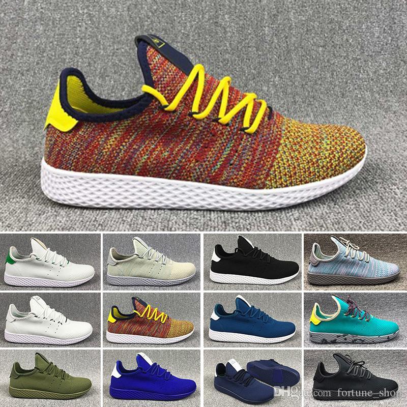 85c08540e Compre Adidas Pw Tennis Hu 2018 Chegam Novas Pharrell Williams X Stan Smith  Tênis HU Primeknit Homens Mulheres Tênis De Corrida Respirável Runner  Calçados ...