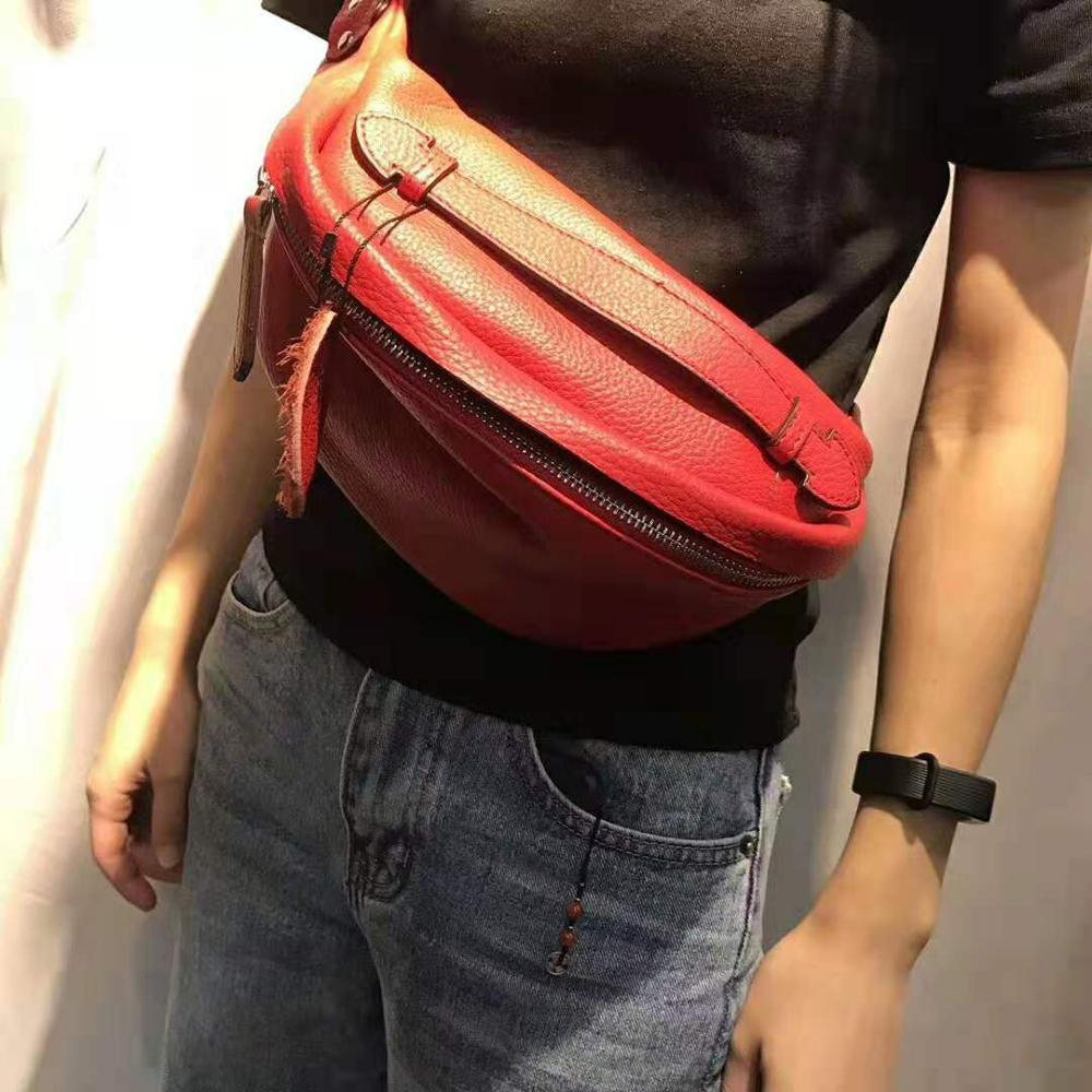 100% Genuine Leather Waist Bag Women Messenger Bags Fashion Chains Female Zipper Small Purse Phone Key Pouch Chest Belt Bag