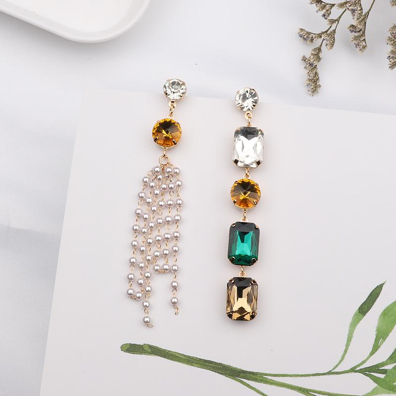 2019 New Colorful Square Crystal Asymmetric Pendientes For Women Accessories Simulated Pearl Long Tassel Earrings