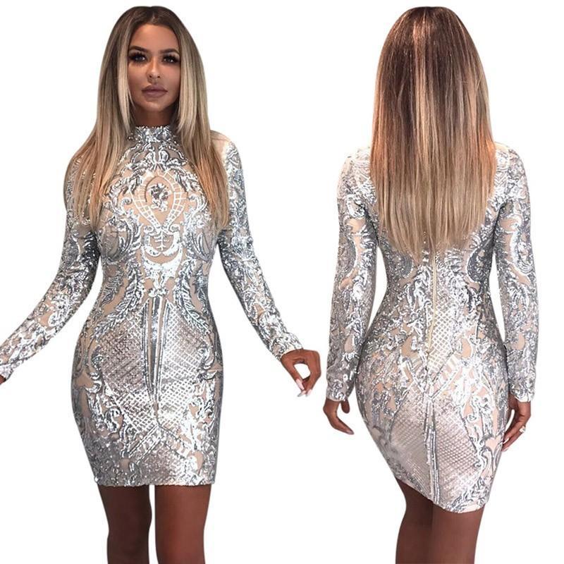 6dd7d3437ad21 Acquista Prova Tutto Sexy Vestito Con Paillette Maniche Lunghe Argento Con  Glitter Vestito Con Abiti Aderenti 2018 New Woman Party Abiti Da Sera Da  Donna A ...