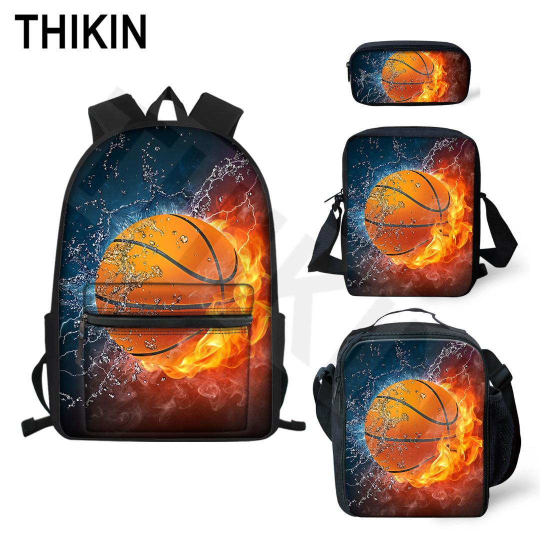 THIKIN Casual 3D Fire with Water Basketball Print School Bags 4Pcs/Set for Teen Backpack Ball Pattern Book Bag Cool Satchel