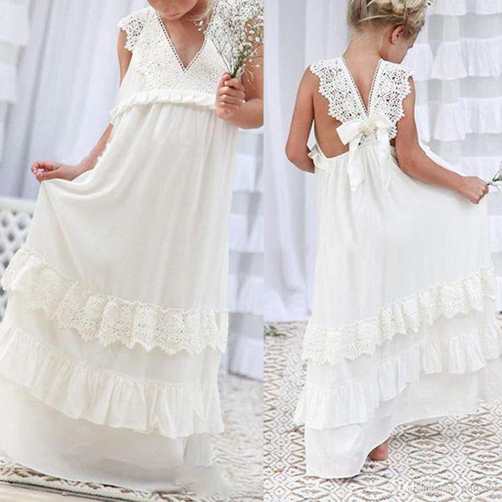 quality design d3e87 3570e Weiß Erstkommunion Pageant Kleid Chiffon bodenlangen Blumenmädchen Kleid  ace Mieder Blumenmädchen Kleid Junior Brautjungfer Hochzeit Prom Par