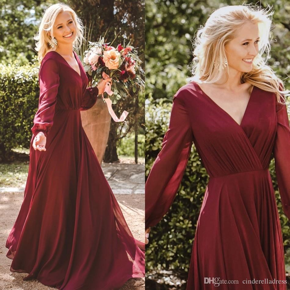 53b066ef4f29 Burgundy Country Bridesmaid Dresses Chiffon Long Sleeves V Neck Country  Beach Wedding Guest Dress Boho Plus Size Maid Of Honor Gown BM0238  Bridesmaid ...