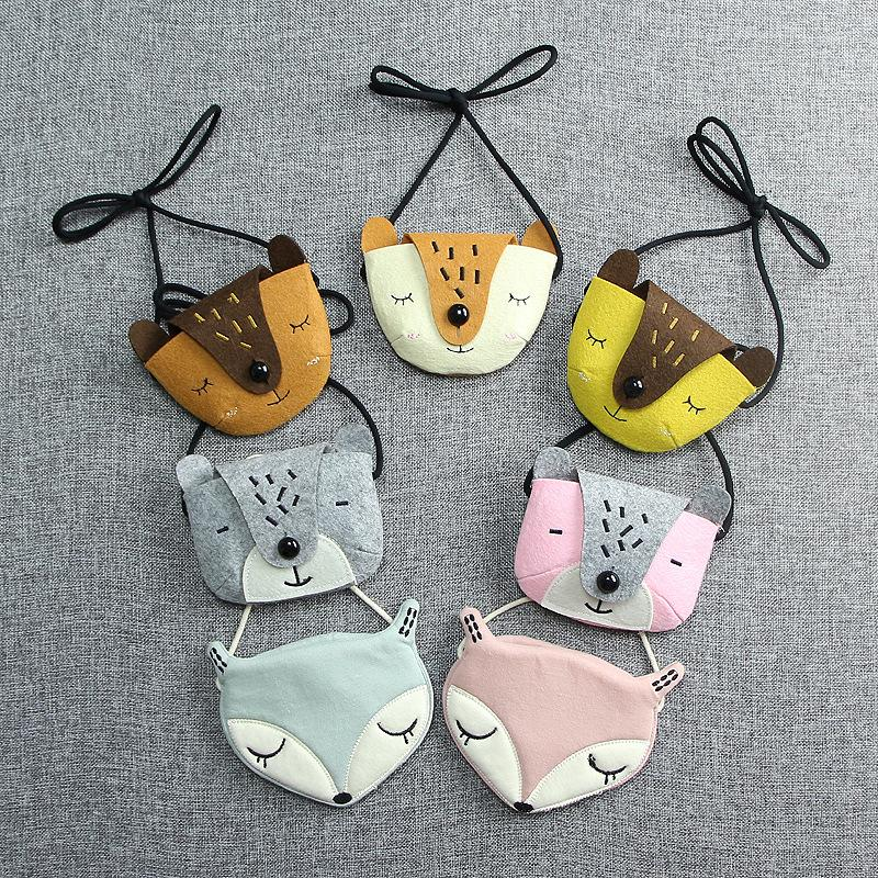 Monsisy Children Handbag Girl Shoulder Bag Coin Purse Cotton 3D Animal Fox Bear Toy Kid Bag Wallet Kawaii Baby Toddler Small Bag