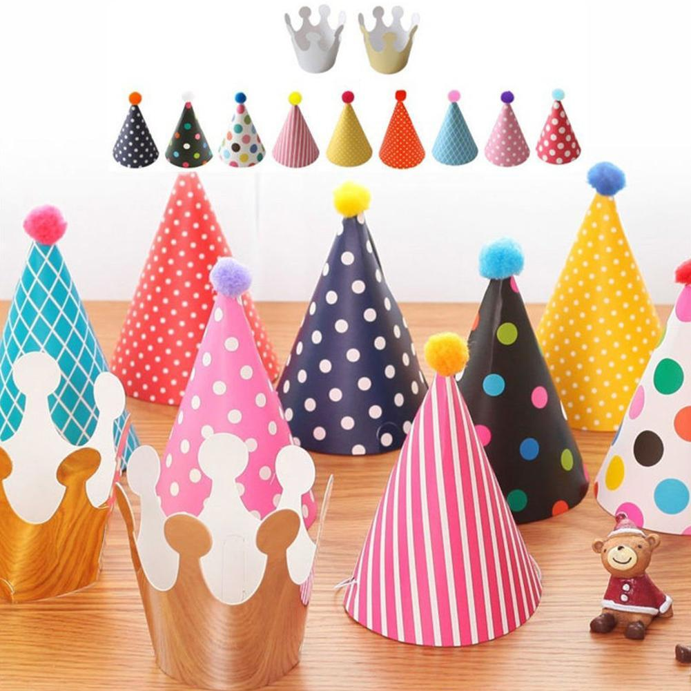 Happy Birthday Party Shimmer Paper Cone Hat Crown Fun Game