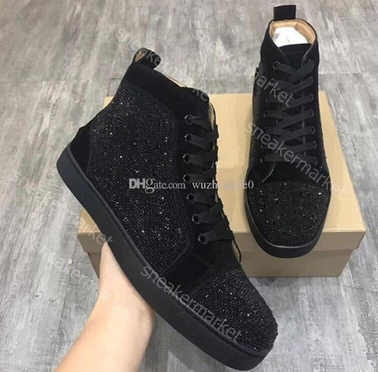 4bc7e67431 Special Offer 2019 Suede & Black Rhinestone Strass Red Bottom Shoes Men  Women s Flat Red Sole Shoes High-Top Sneaker Lace-up Casual Shoes