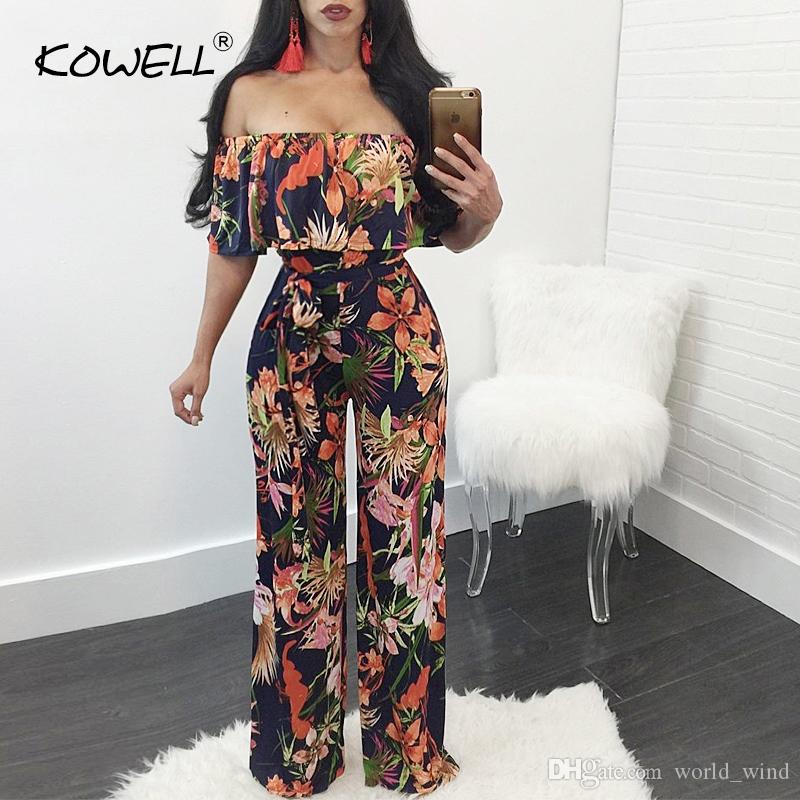 bf6f7c35c5f3 2019 Hot Sale Bohemian Palm Print Lace Up Jumpsuits Rompers Off Shoulder  Plus Size Women Jumpsuit Summer Beach Sexy Jumpsuit Overalls  400909 From  ...