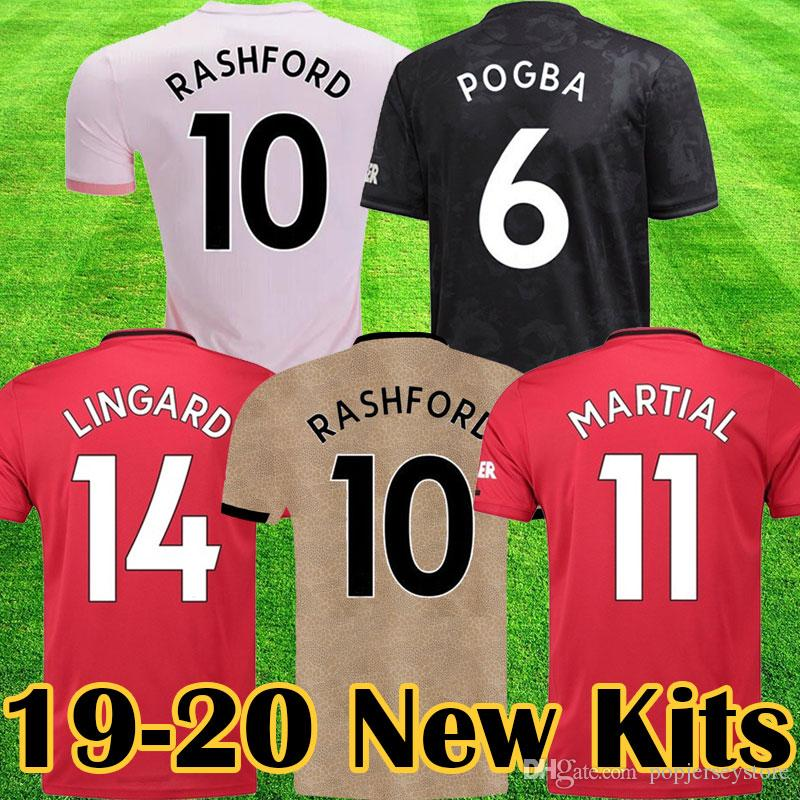 size 40 4bcec 8164c Manchester 2019 2020 LUKAKU MARTIAL POGBA Pink united Soccer Jersey  RASHFORD Kids jerseys Man kit Football Shirt 19 20 Utd Tops equipment