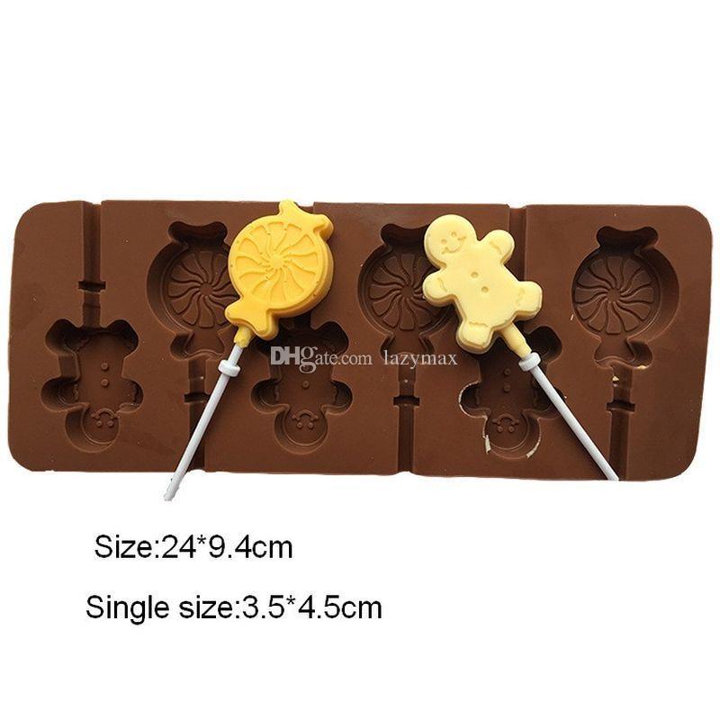 24*9 4CM Six little Candy Men Lollipop Moulds DIY Chocolate Mould ECO  Friendly Cake Moulds Silicone Kitchen Baking Moulds 20 Pieces DHL
