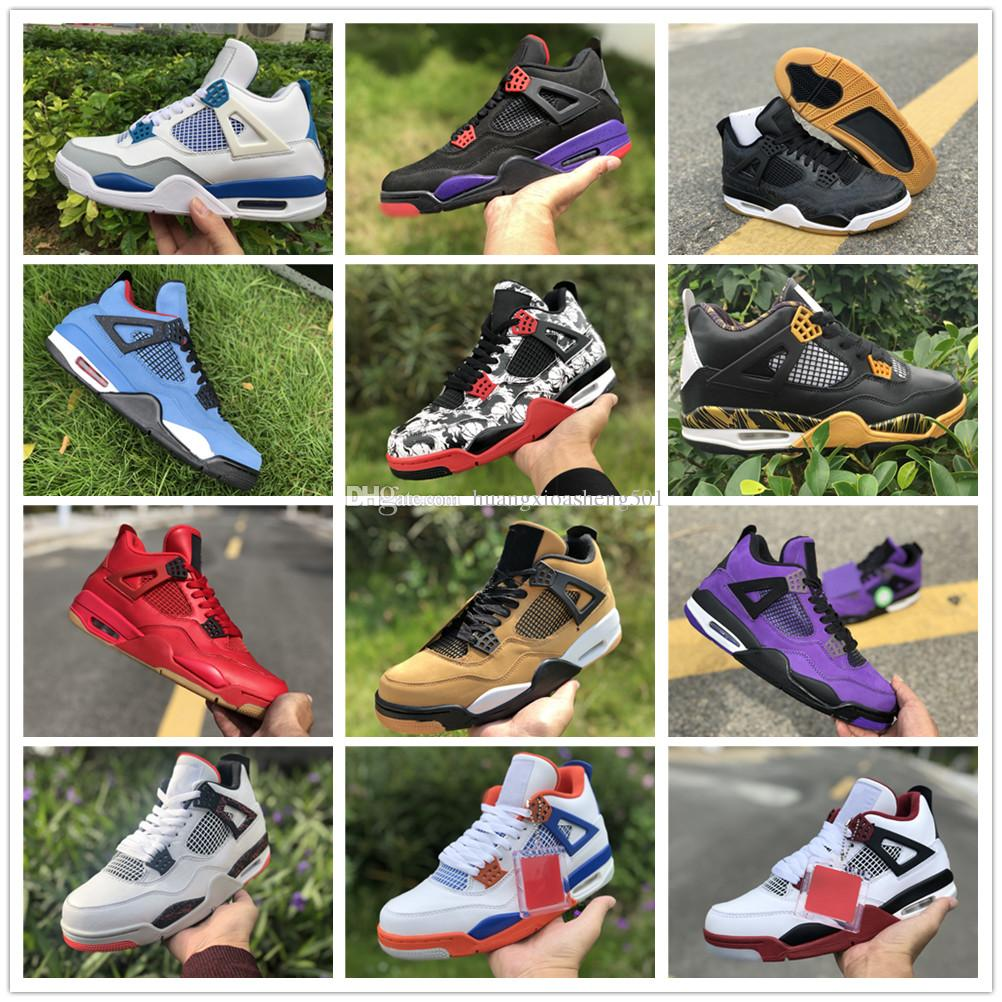 d6770e24fe62 2019 2019 4 CACTUS JACK Travis Scotts X 4s Denim LS Jeans Houston Oiler  White Cement Raptors KAWS IV Mens Basketball Retro Shoes Pure SINGLES DAY  From ...