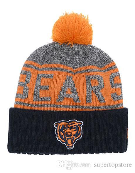 Nuovo arrivo Moda Fans foot ball Berretti invernali Pom Casual Warm Skullies Beanie Hats Sport Team Chicago Cuffed Knit Caps