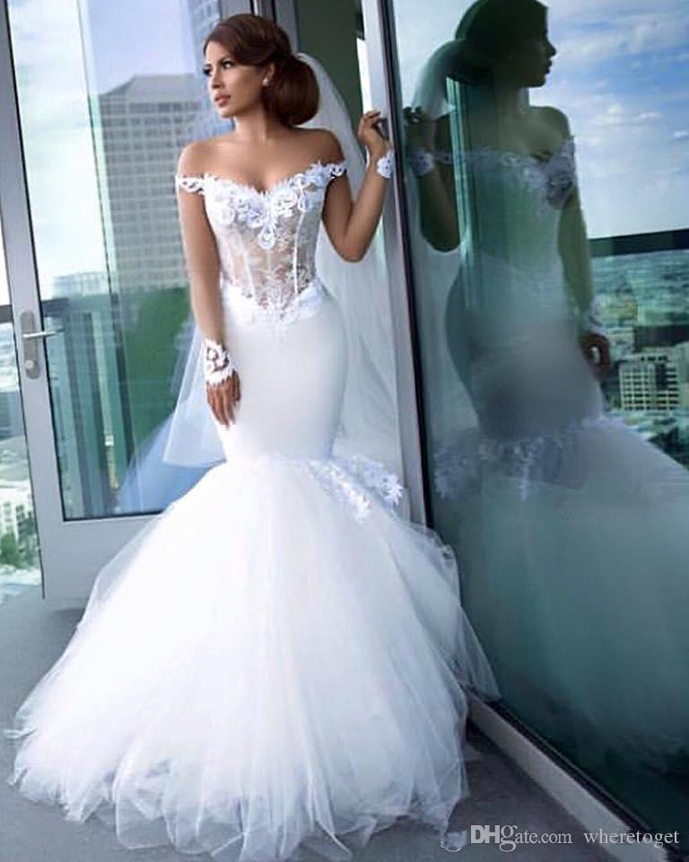9d73bb96d0f Elegant Off The Shoulder Mermaid Wedding Dresses Sheer Bodice Lace  Appliques Tulle Sexy Bridal Dress Exposed Boning Vintage Wedding Gowns  Cheap Wedding Gown ...