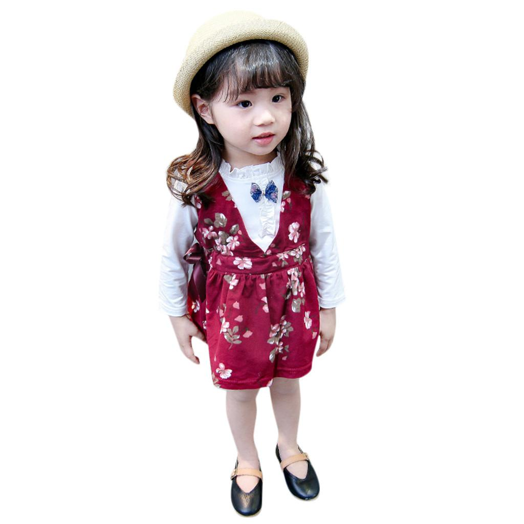 c611aeb9955f1 MUQGEW Baby Girls Clothes Set Toddler Kids Girl Long Sleeve T Shirts Floral  Suspender Skirt Bow 2PC Children Girl Clothes Sets