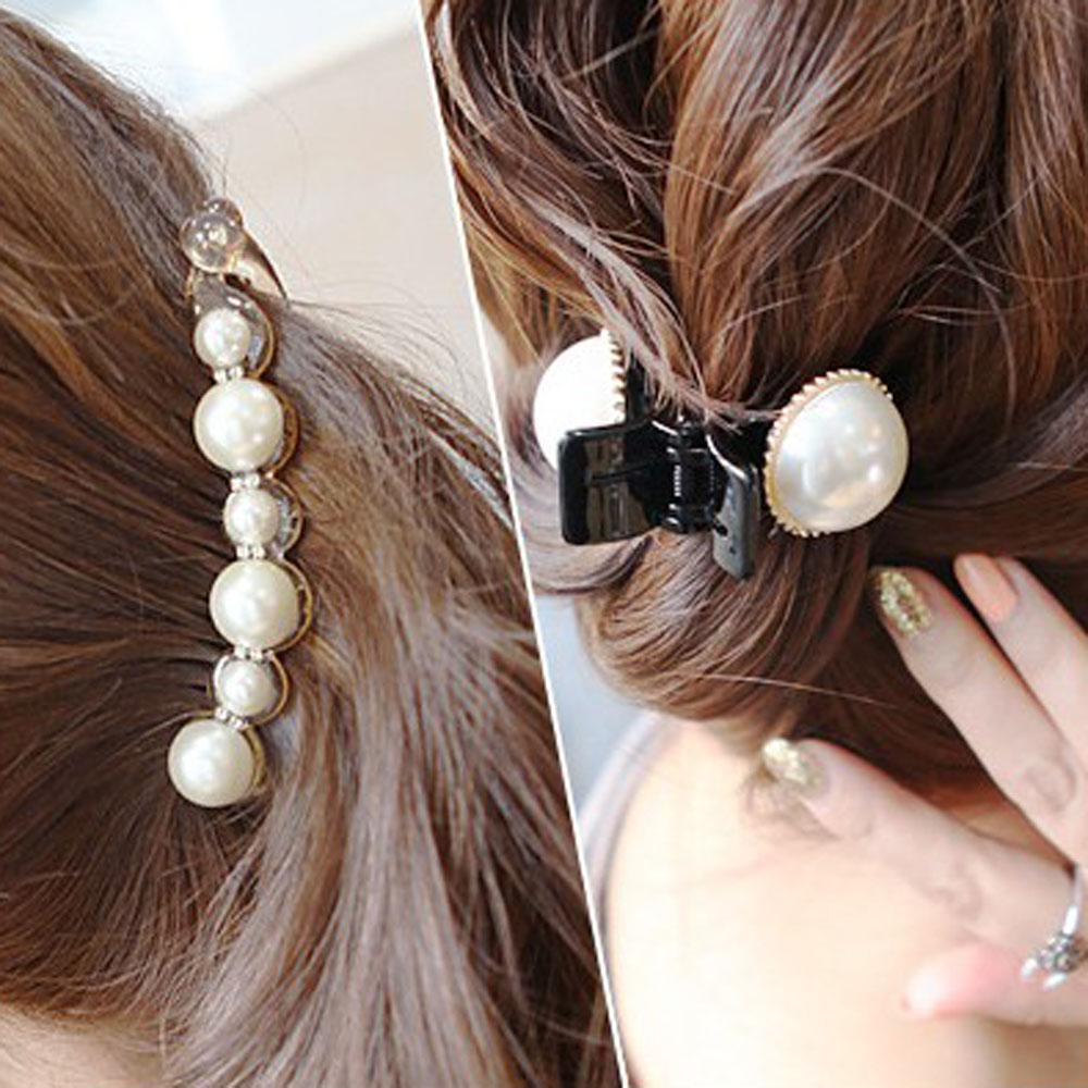 1PC Black Crystal Pearls Hairpins Hair Banana Clips Headwear Hair Accessories for Women Lady Girls Mini Claw Clips Jewelry
