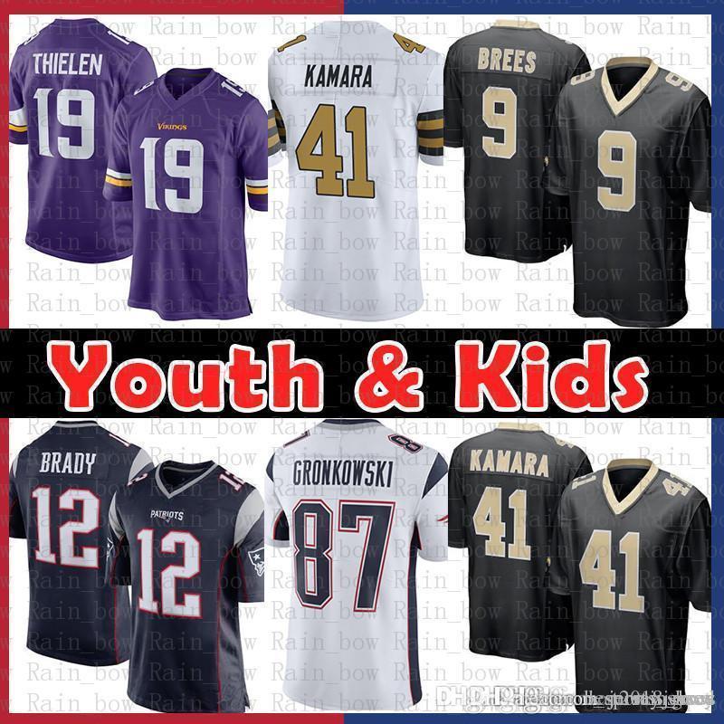 huge discount 447dd 17775 12.9 Youth Kids Jersey New Orleans Saints 9 Drew Brees 41 Alvin Kamara  Patriot 12 Tom Brady Rob Gronkowski Minnesota Vikings 19 Adam Thielen