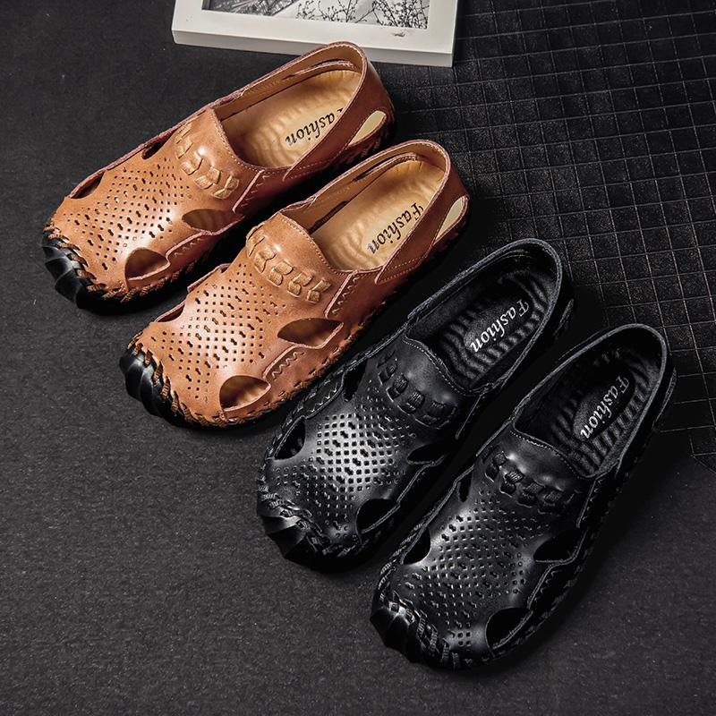 Pu Leather Sandals Uomo Zoccoli Croc Shoes Crocse Mens Sandles Pantofole Estate Garden Shoes Uomo New 2019 Sandalias Hombre Taglia 38-48