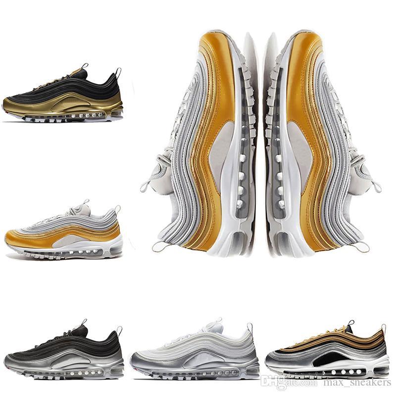 01ceb16ad5 Designer 97 Men Running Shoes Black Metallic Gold Silver BLACK WHITE ...