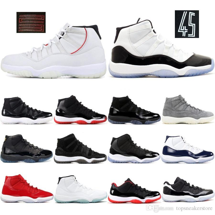 best service ebfe7 210d0 Acheter Nike Air Jordan 11 Hommes 11s Chaussures De Basket Ball New Concord  45 Espace Couleur Platinum Jam Jam Gym Red Gagner Comme 96 XI Designer  Sneakers ...