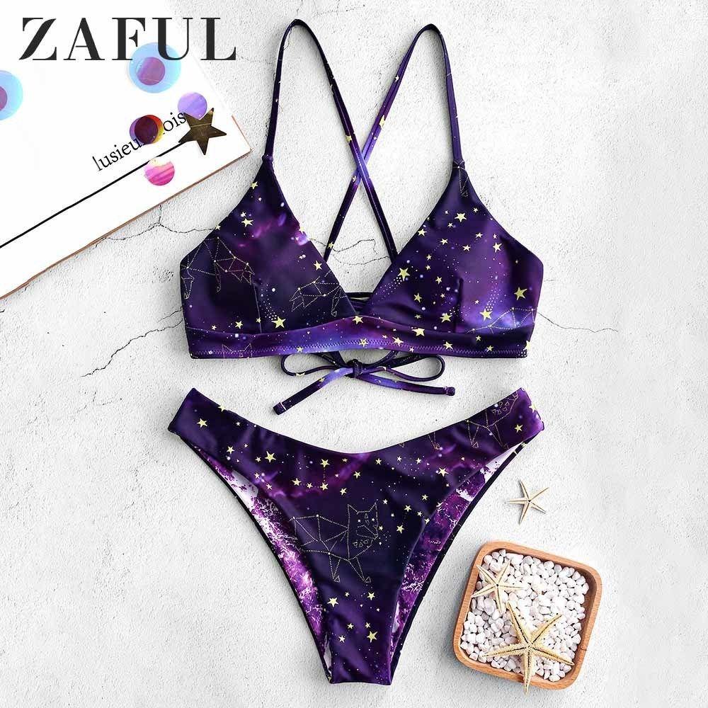 d257c6fab016 Zaful Bikini Galaxy Imprimir Bikini reversible con cordones Conjunto de  correas de espagueti Traje de baño cruzado Traje de baño acolchado libre ...