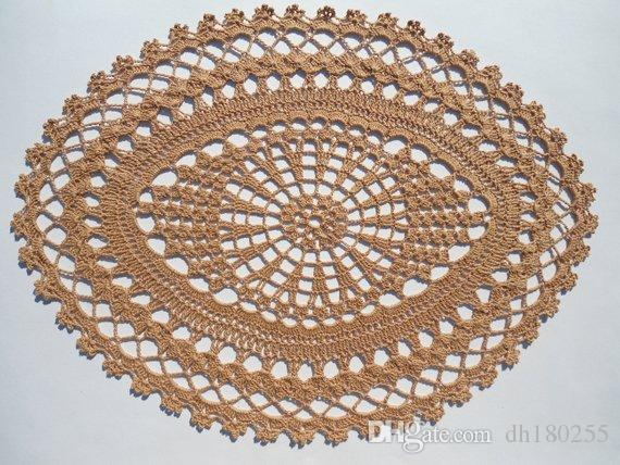 2019 Hand Crochet Doilies Oval Crochet Centerpiece Lace Tablecloth