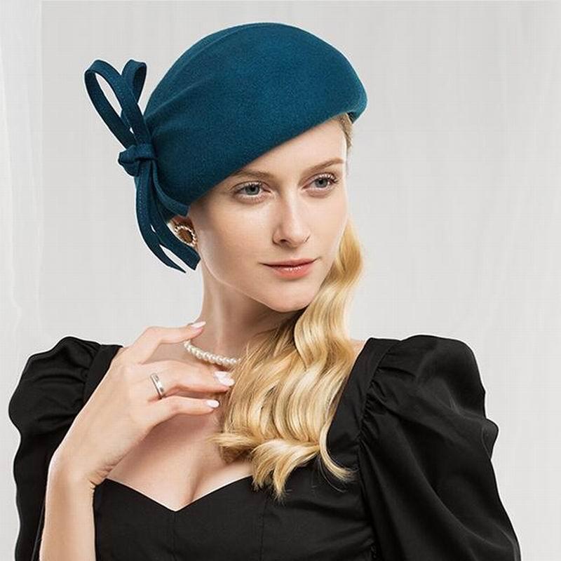 99300f60acd Wool Felt Hat Women Pillbox Hats Black Ladies Vintage Cocktail ...