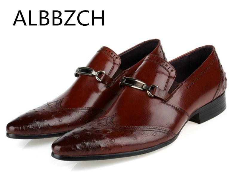 994b2e82 Compre Moda Avestruz Patrón De Cuero Genuino De Los Hombres Zapatos De  Calidad Para Hombre Vestido De Boda Zapatos De Hombre De Alto Grado De  Trabajo De ...